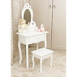 Runesol Coiffeuse pour Filles avec Tabouret et Miroir, Petite Table de Toilette pour Enfants idéale pour Les Filles 3-7 Ans, Coiffeuse en Bois Blanche de Maquillage d'enfants