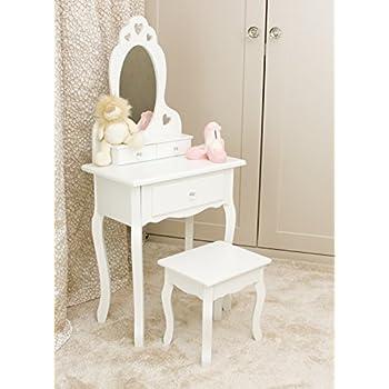 Runesol Coiffeuse Pour Filles Avec Tabouret Et Miroir Petite Table De Toilette Pour Enfants Idéale Pour Les Filles 3 7 Ans Coiffeuse En Bois Blanche