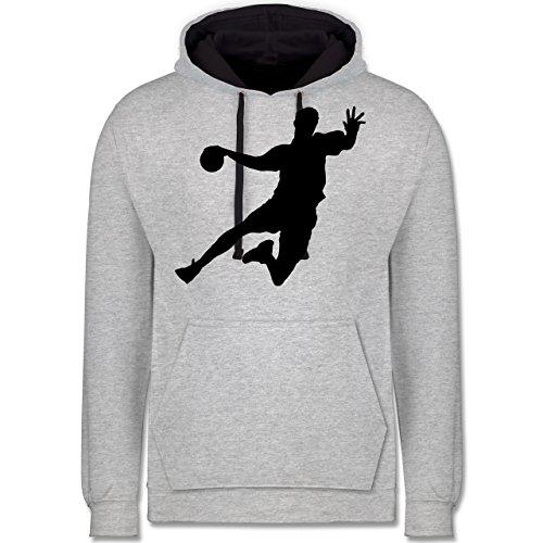 Shirtracer Handball - Handball - 5XL - Grau meliert/Navy Blau - JH003 - Kontrast Hoodie