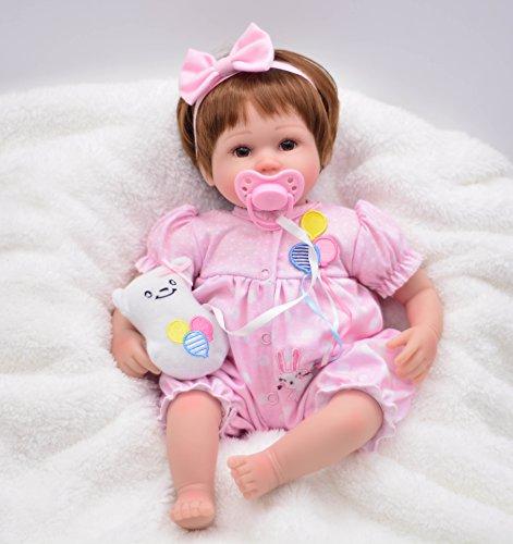 Pursue Baby Reborn Baby Mädchen Puppe mit Haar Nala, 40cm Lebensechte Neugeborenes Baby Puppe mit Schnuller Weihnachtsgeschenk