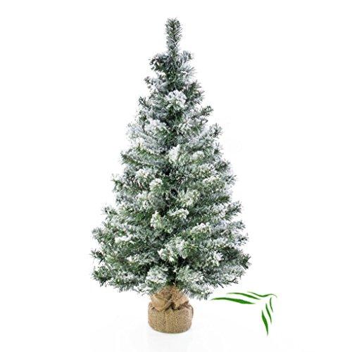 Künstlicher Weihnachtsbaum REYKJAVIK im braunen Dekosack, beschneit, 100 Zweige, 75 cm, Ø 27 cm - Kunst Tannenbaum / Deko Christbaum - artplants