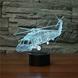 3D Lamp USB Power 7 Colors Amazing Optical Illusion 3D Grow LED Lamp Helicopter Shapes Kids Bedroom Night Light