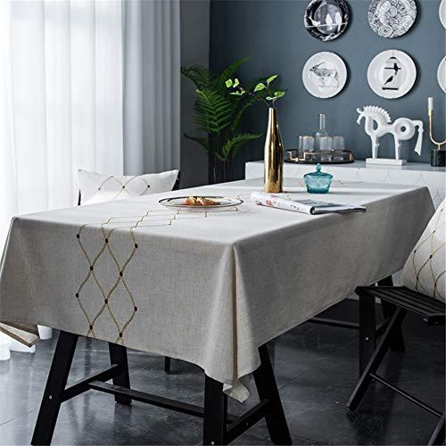 NQING Leinen Geometrische Stickerei wasserdichte Tischdecke Tischdecke Quadrat Tischdecke Multifunktionsabdeckung Handtuch Tuch A 135x220cm