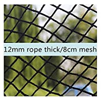BHH Plant Protection Net, Black Foot Goods Net Balcony Anti-fall Net Kindergarten Yard Playgroud Decor Net Hanging Clothes Restaurant Bar Fence (4/6/8/10/12mm Rope Thick)