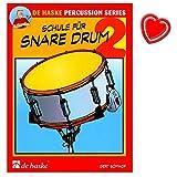 Schule für Snare Drum (Kleine Trommel) - Band 2 - Schule für Einzel- und Gruppenunterricht von Gert Bomhof - mit bunter herzförmiger Notenklammer