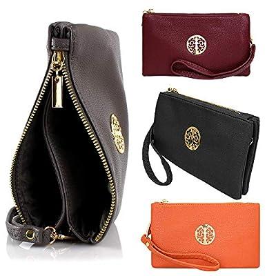 Craze London Small Wristlet Purse Clutch with Shoulder Strap Cross Body Handbags for Women