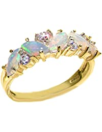 Solid 9ct Yellow Gold Natural Opal & 0.24ct Diamond Ladies Eternity Ring