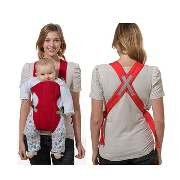 Kasstino Infant Front Facing Slings Breathable Pouch Wraps Carriers Backpacks Suspenders (Red) Kasstino A great way to carrying baby, keep kids close and safe at hands, in crowds, or during family outings Double layer at the bottom of the pad design more take care of the baby small buns Portable, breathable, folding, really practical. Easy to put on and take off 3