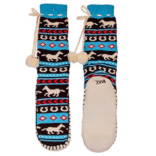 Mukluk Slipper Stiefel (LazyOne Damen Horse Fair Isle Mukluk Slippers Erwachsenen S/M)