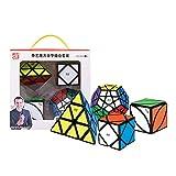 OJIN QiYi Speed Cube Bundle Megaminx & Skewb & Lvy Cube & Pyramid Bright Magic Cube Black con Embalaje de Regalo + Cuatro trípodes