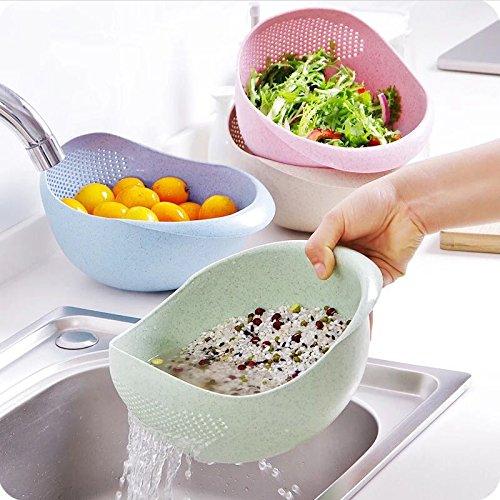 Ofen Bildschirm (u-emember Cool Farbe dick Küche zu waschen die REIS zu waschen die REIS Korb Bildschirm Waschen Reis waschen die REIS Schalen Kunststoff Ablauf, Wasser waschen Box anderen zugeben, Körbe, weiß)