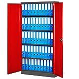 Jan Nowak by Domator24 C001FM Aktenschrank Büroschrank 4 Fachböden Stahblech Pulverbeschichtung Flügeltüren fertig montiert versch. Farben 185 cm x 90 cm x 40 cm (anthrazit/rot), Metall,