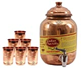 #7: Indian Art Villa Handmade High Quality Pure Solid Copper Water Pot Tank Matka Volume 1.5 Liter with 6 Copper Glass Tumbler Cup Volume 300 ML for use Storage Drinking Water Restaurant Hotel Home Ware Gift Item Home Decore Good Health Benefits for Indian Yoga Ayurveda