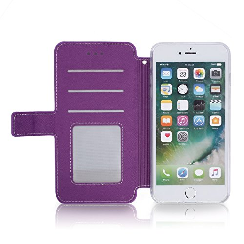 JAWSEU iPhone 6S Plus Etui Portefeuille Pu avec Dragonne ,iPhone 6 Plus Leather Case Wallet Protective Cover iPhone 6S Plus en Cuir Folio Housse Coque de Protection,Ultra Slim Bookstyle Flip Wallet Co Violet/Une fleur