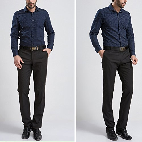 Zhhlaixing confortevole Mens British Style Slim Fit Spring Long Sleeve Cotton Shirts Tops Blue