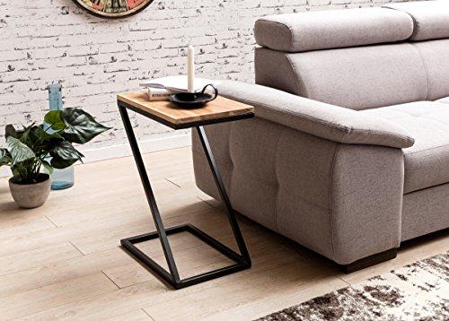 Côté Akola Z-Forme en Bois Massif Acacia/métal 45x62x32cm   Design Pays Table Basse de Style   Add-on Table carrée de Plateau de Table