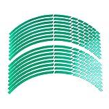Beito 16 pièces de Jante de Roue Autocollant réfléchissant Decal Breakpoint Stripe Bande 17 « » - 18 « » pour Moto Vélo Voiture (Vert)