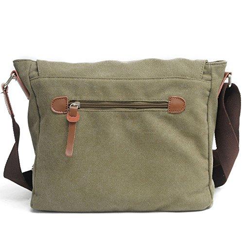 Neuleben Schultertasche Vintage Umhängetasche Canvas für Damen/Herren Schultasche für Schule Freizeit Messenger Bag Klein (Braun-A) Grün