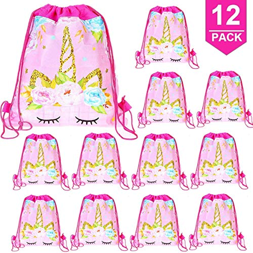 a26fa087852b Micher Unicorn Gifts Bag Party Favors, 12 Pack Unicorn Drawstring Backpack  Bags Unicorn Birthday Party Supplies para niñas niños