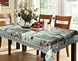 #8: Kuber Industries Grey Floral Design Heavy Waterproof Dining Table Cover 6 Seater (60*90 inches)