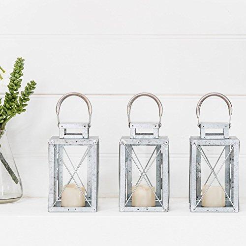 Lights4fun Set di 3 Lanterne in Metallo Zincato per Interni ed Esterni con Candela LED a Pile