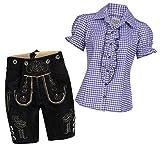 Damen Set Trachten Lederhose Shorts schwarz kurz + Träger + Trachtenbluse Ronda 34 Lila Weiß Kariert 34