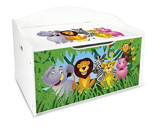 Leomark contenitore porta giochi xl in legno cesta per giochi scatola portagiochi panca contenitore stoccaggio mobili e arredamento cassapanca per bambini portaoggetti organizer oggetti versatile animali zoo leone elefante giraffa