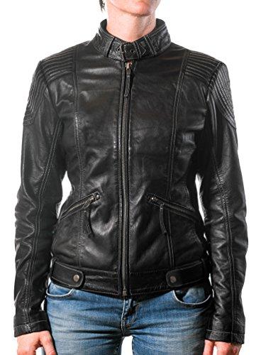 Giacca di pelle donne in vera pelle di agnello cuoio originale di Rock-It nero Biker giubbotto da motociclista stile S