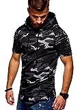MT Styles Herren Oversize T-Shirt Hoodie Biker Polo R-18 (Camouflage Schwarz, L)