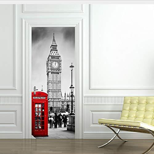 Miss Zhang's shop HD Famous Big Ben Poster PVC Impermeabile 3D Adesivi Porta Adesivi Creativi Autoadesivi Fai da Te Murale Camera da Letto Home Decor 77X200Cm