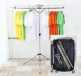 SHUNTAI Edelstahl T-Typ hängende Kleiderständer ,Faltbarer Reise Boden Balkon Trockenregal Innen einfach einstellbar (125cm)