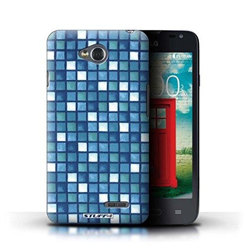 Kobalt® Imprimé Etui / Coque pour LG L65/D280 / Violet/Vert conception / Série Carreau Bain Bleu/Blanc