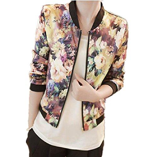 Vovotrade Stehen 1PC Frauen Kragen Langarm Zipper mit Blumenmuster Bomberjacke (EU Size:38, Multicolore)