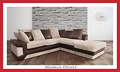 Dino Corner Sofa in Brown&Beige with a Footstool, 2 or 3 Seater or Swivel Chair from Abakus Direct