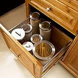SoBuy® Luxus-Küchenwagen aus hochwertigem Bambus mit Edelstahlarbeitsplatte,Kücheninsel,Küchenschrank,B129xT46xH91cm FKW14-N - 5