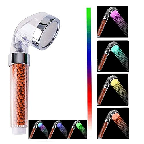 Nosame® - Soffione doccia a LED, filtro ionico ad alta pressione, risparmio idrico, 7 colori, automaticamente, senza bisogno di batterie, soffioni per pelle secca e capelli
