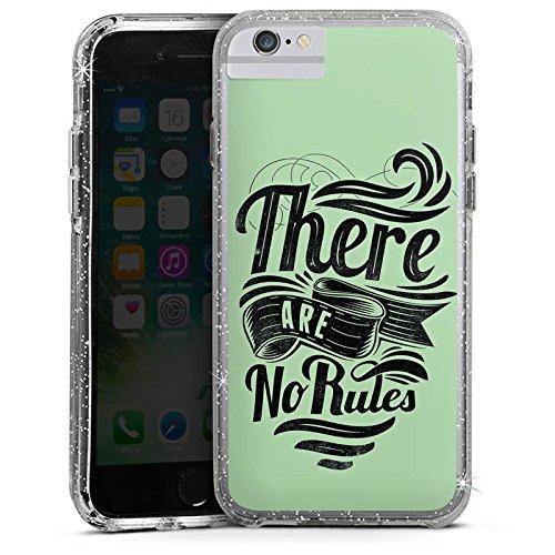 Apple iPhone 6 Plus Bumper Hülle Bumper Case Glitzer Hülle Rules Statements Spruch Bumper Case Glitzer silber