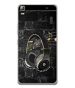 PrintVisa Designer Back Case Cover for Lenovo A7000 :: Lenovo A7000 Plus :: Lenovo K3 Note (Black Yellow Music Equipment Image Art Style illustration Card Modern)
