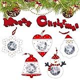 Youliy, set di ciondoli natalizi innovativi, decorazioni natalizie da appendere, cornici portafoto in legno fai da te, ornamenti natalizi - Set di 5