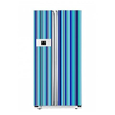 Amazing sticker décoratif Bandes–Cuisine Réfrigérateur Réfrigérateur autocollant mural imperméable, Blue Stripes Set, Single door fridge