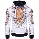 Bluestercool Hommes Sweat à Capuche Afrique Imprimé Sweatshirt Tops (XL, Jaune)
