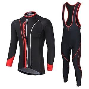 Soradoo Ciclismo Maillot Hombres Jersey Culote Pantalones Largos Mangas Largas Ciclismo Ropa Maillot para Deportes al aire libre Ciclo Bicicleta