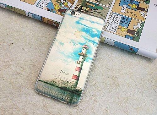 Cover Per iPhone 8 / iPhone 7 4.7 Bling Glitter, Custodia Design Emoticon multicolore Trasparente Plastica Con Sabbia Mobili Blu Brillanti ,Vandot Shell 3D Quicksand Case Con Stella Fluente Liquido S landscape 14