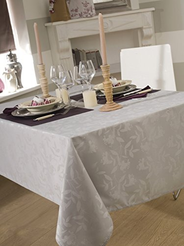 Calitex - tovaglia ombra, in tessuto damascato, dimensioni: 150 x 350 cm, colore: grigio perla