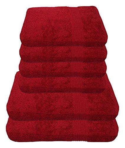 Julie Julsen Handtuch Set 2X Duschtuch 4X Handtuch Bordeaux/in 23 Farben erhältlich weich und saugstark