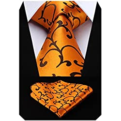 Hisdern Extra largo Floral Paisley lazo del panuelo Hombres Corbata & Plaza de bolsillo Conjunto Oro/naranja