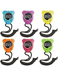 Champion Sports Stoppuhr Timer Set: Wasserdicht, Handheld Digital Uhr Sport Stoppuhren mit großem Display für Kinder oder Coach–Bright farbigen 6Pack