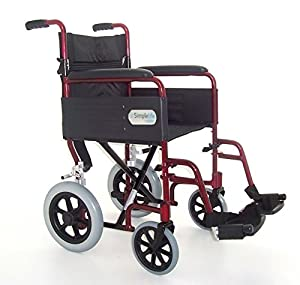 Simplelife Mobility Ultra Lightweight Folding Transit Wheelchair, Red