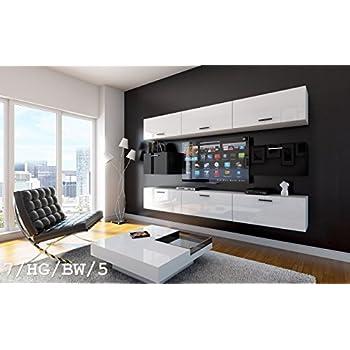 Tv wand weiß hochglanz  FUTURE 7 Wohnwand Anbauwand Wand Schrank TV-Schrank Möbel ...