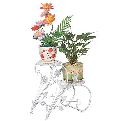 Eisen Blumentreppe Blumen Regale Pflanzenständer mit 2 Körbe Hocker Blumenhocker Regal (Weiß)